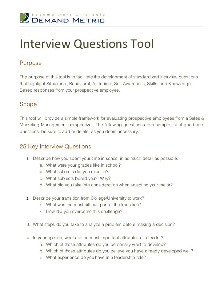 Interview Questions Tool Demand Metric