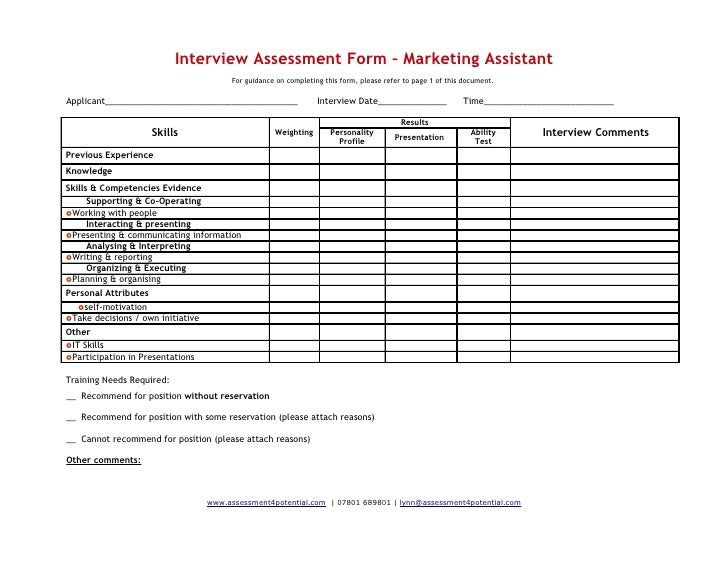 Interview Evaluation Form Candidate Evaluation Process Interview