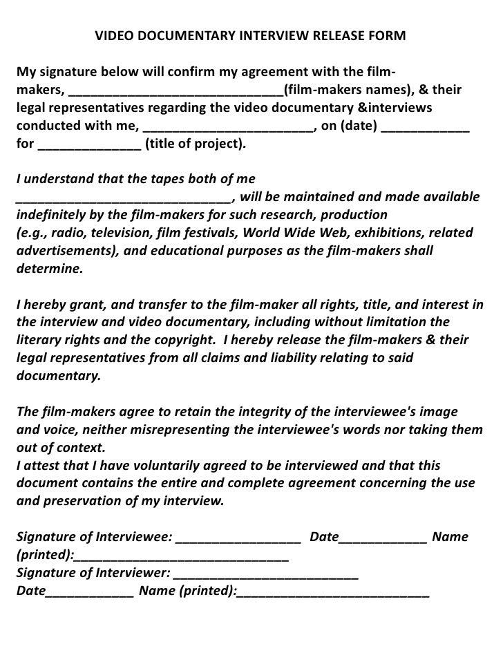 VIDEO DOCUMENTARY INTERVIEW RELEASE FORM U003cbr /u003eMy Signature Below Will  Confirm My Agreement