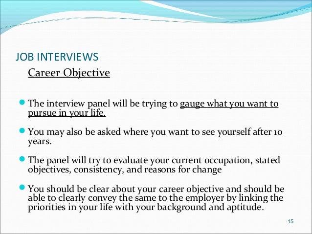 job interviews career objective