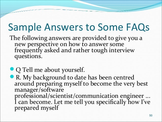 Tell me about yourself answer dating