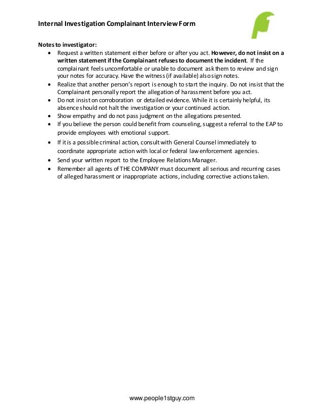 employee investigation compliant interview form and notes