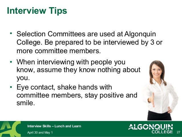 Tips for Successful Job Interviews - Lunch and Learn 2014