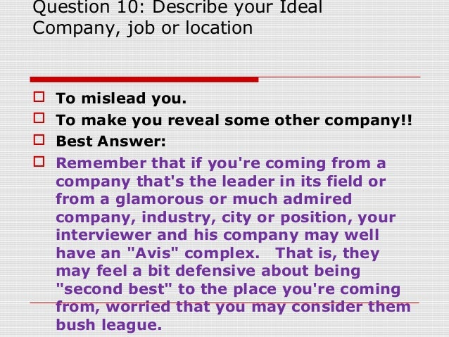 Beautiful Question 10: Describe Your Ideal Company, Job Or Location ...