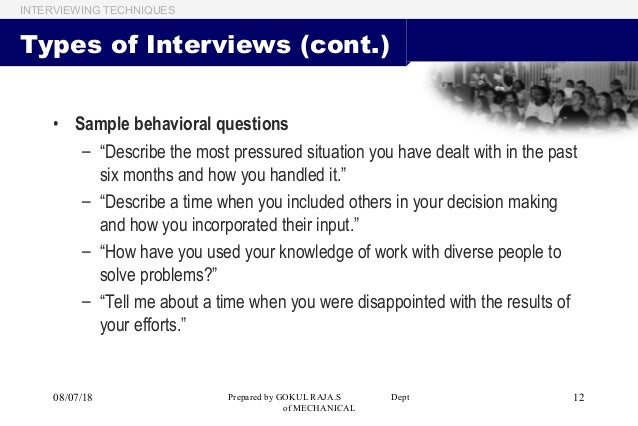 Interview Techniques Basic Needs To Develop Your Interview Skills