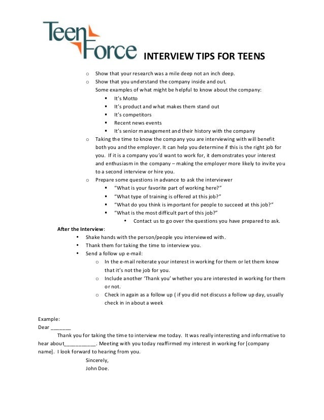 teens interview tips