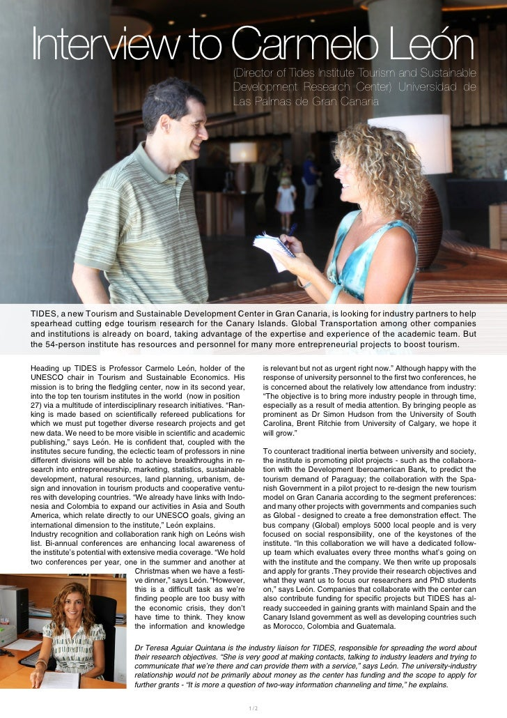 Interview to Carmelo León                                       (Director of Tides Institute Tourism and Sustainable      ...