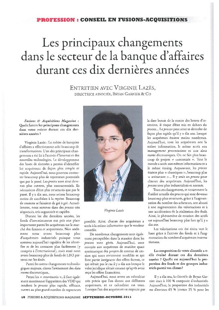 Entretien avec Virginie Lazès, Directrice Associée, Bryan Garnier & Co