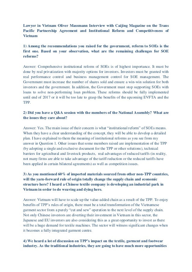Lawyer in Vietnam Oliver Massmann Interview with Caijing Magazine on the Trans Pacific Partnership Agreement and Instituti...
