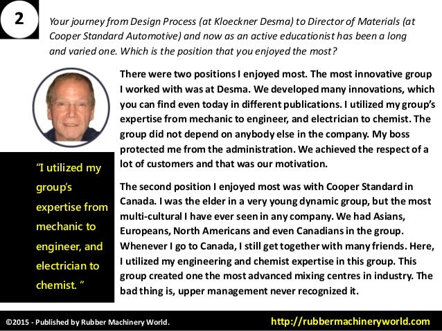 ©2015 - Published by Rubber Machinery World. http://rubbermachineryworld.com Your journey from Design Process (at Kloeckne...