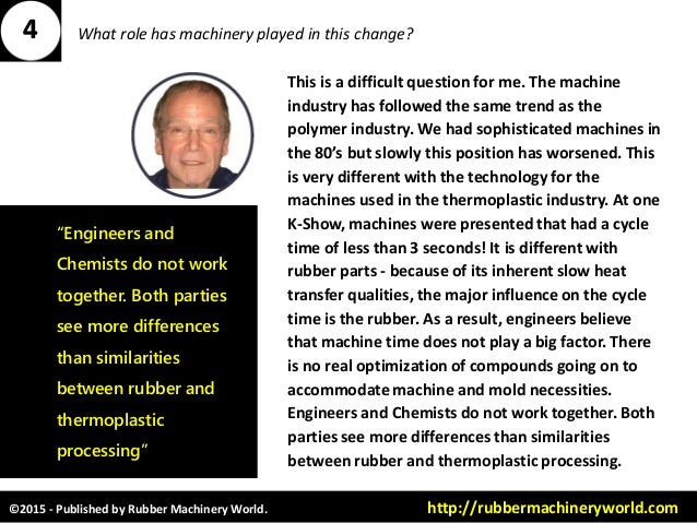 ©2015 - Published by Rubber Machinery World. http://rubbermachineryworld.com What role has machinery played in this change...