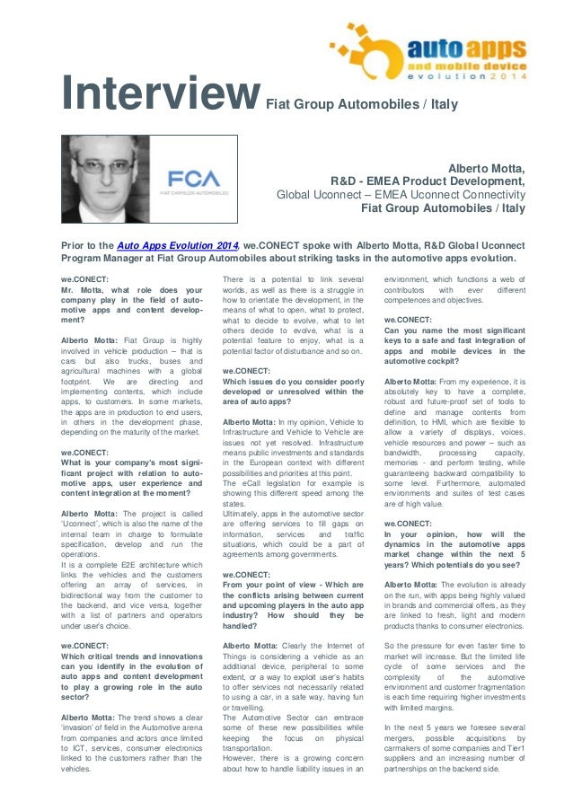 Interview Fiat Group Automobiles / Italy  Alberto Motta,  R&D - EMEA Product Development,  Global Uconnect – EMEA Uconnect...