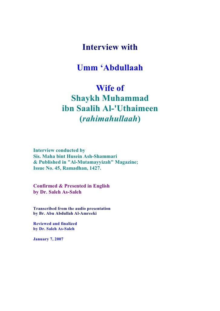 Interview with                       Umm 'Abdullaah                         Wife of                 Shaykh Muhammad       ...
