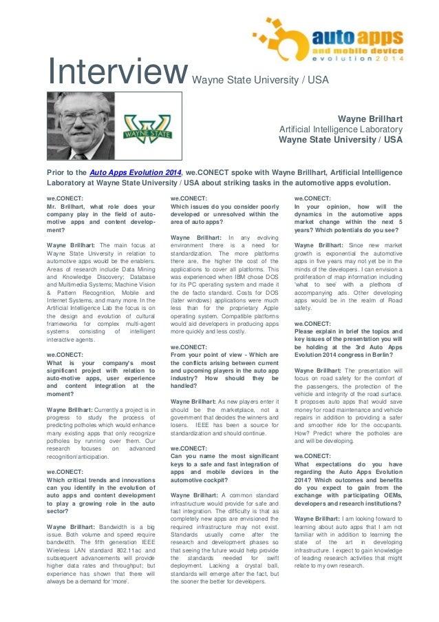 Interview Wayne State University / USA  Wayne Brillhart  Artificial Intelligence Laboratory  Wayne State University / USA ...