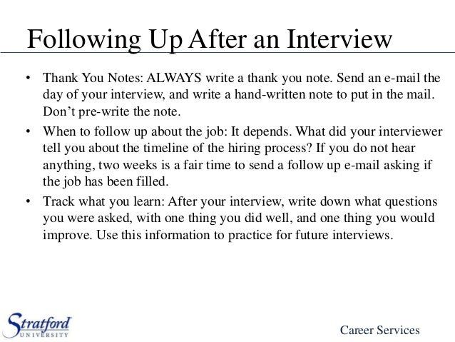 writing a thank you note after interview