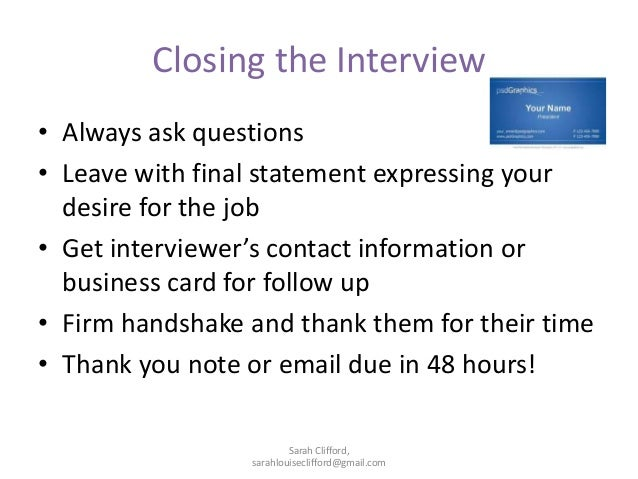 closing statement interview