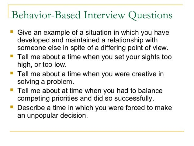 behaviour based interview questions