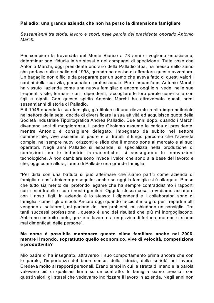 Palladio: una grande azienda che non ha perso la dimensione famigliareSessantanni tra storia, lavoro e sport, nelle parole...