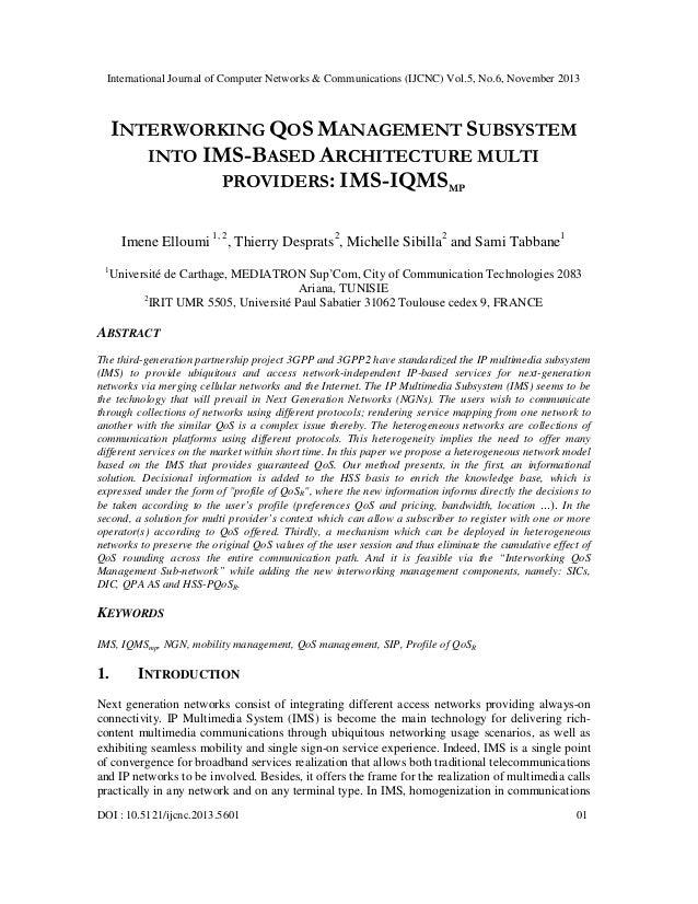 International Journal of Computer Networks & Communications (IJCNC) Vol.5, No.6, November 2013  INTERWORKING QOS MANAGEMEN...