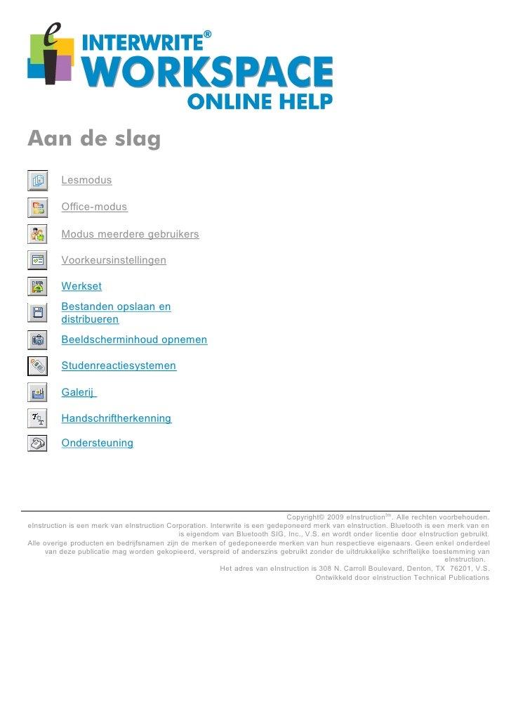 Aan de slag           Lesmodus            Office-modus            Modus meerdere gebruikers            Voorkeursinstelling...