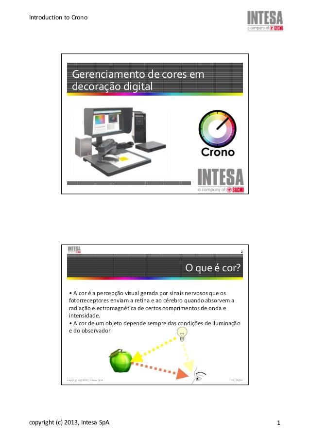 Introduction to Crono copyright (c) 2013, Intesa SpA 1 Gerenciamento de cores em decoração digital O que é cor? • A cor é ...