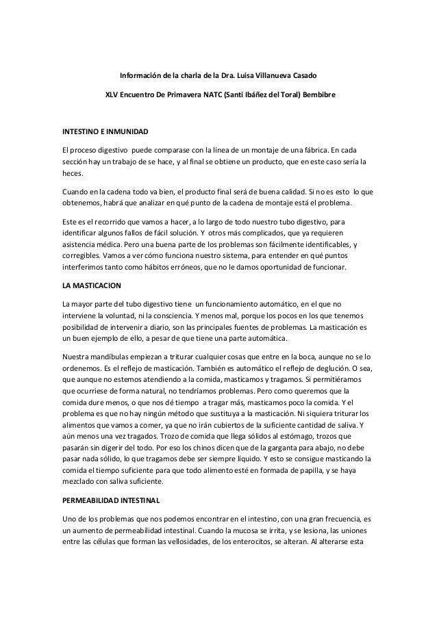 Información de la charla de la Dra. Luisa Villanueva Casado XLV Encuentro De Primavera NATC (Santi Ibáñez del Toral) Bembi...