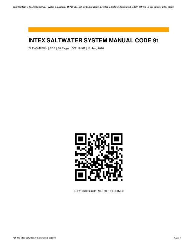 intex saltwater system manual code 91