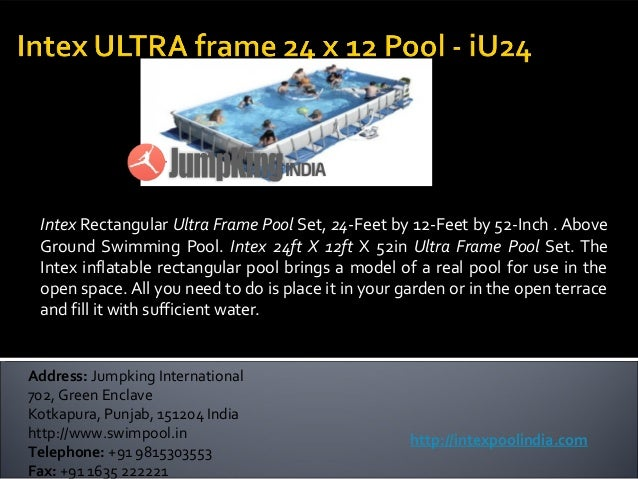 Intex Rectangular Ultra Frame Pool Set, 24-Feet by 12-Feet by 52-Inch . Above Ground Swimming Pool. Intex 24ft X 12ft X 52...