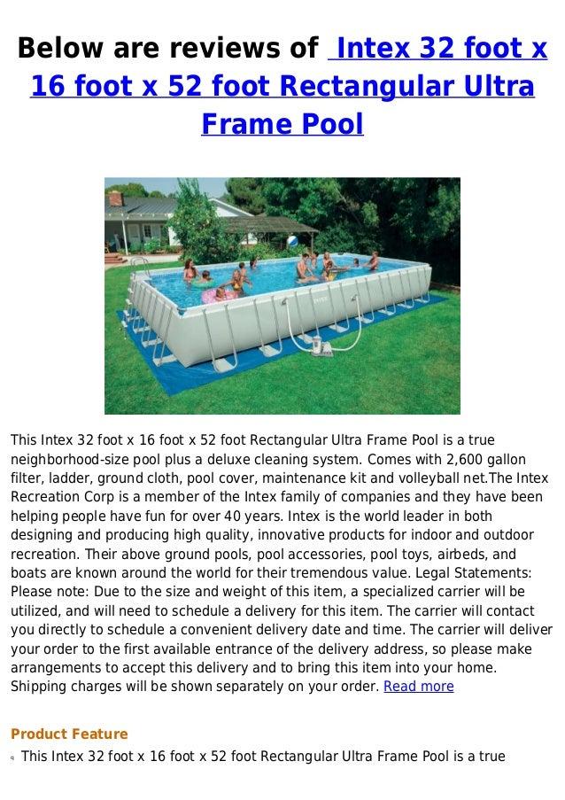 Intex 32 foot x 16 foot x 52 foot rectangular ultra frame pool best b…