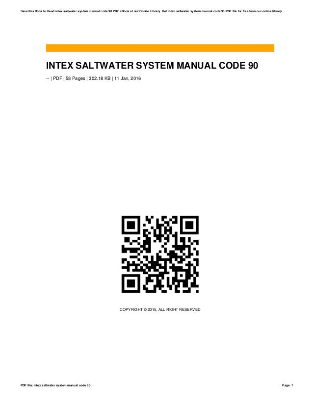 Intex saltwater system manual code 90