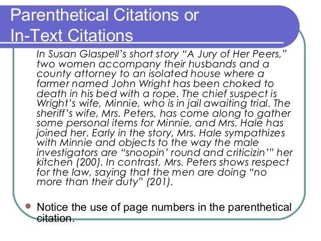 In Text Citations MLA