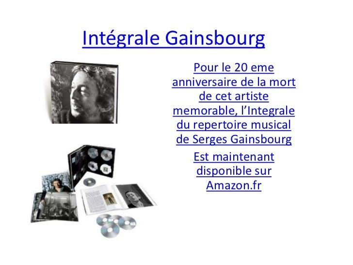 IntégraleGainsbourg<br />Pour le 20 emeanniversaire de la mort de cet artiste memorable, l'Integrale du repertoire musical...