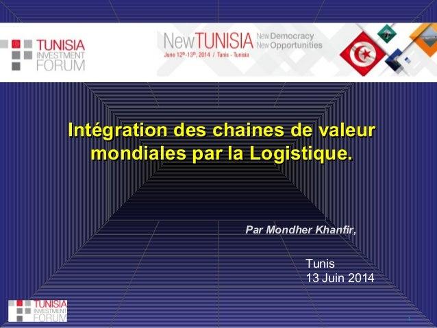 1 Intégration des chaines de valeurIntégration des chaines de valeur mondiales par la Logistique.mondiales par la Logistiq...