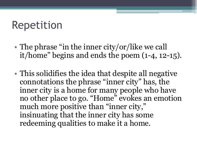 in the inner city poem analysis