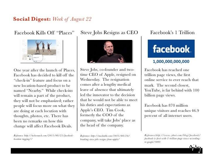 """Social Digest: Week of August 22Facebook Kills Off """"Places"""" Steve Jobs Resigns as CEO                                     ..."""
