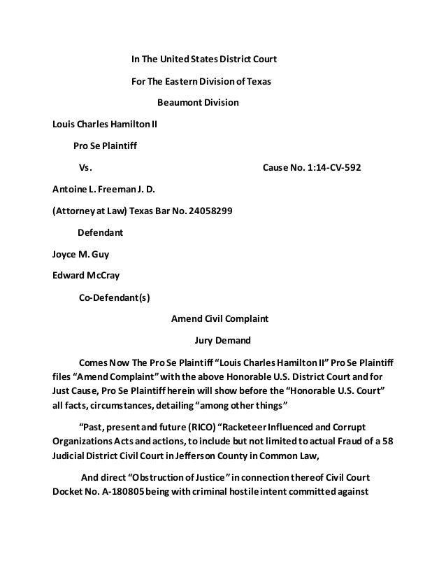 Amend US Civil Complaint Louis Charles Hamilton Ii Vs Chief Defend