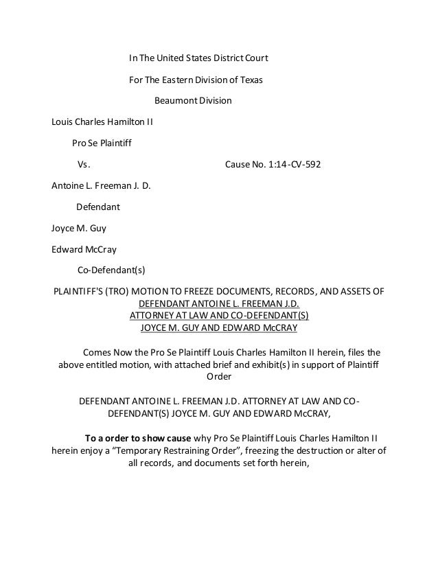 motion to freeze documents  assets  of defendant antoine l  freeman j u2026