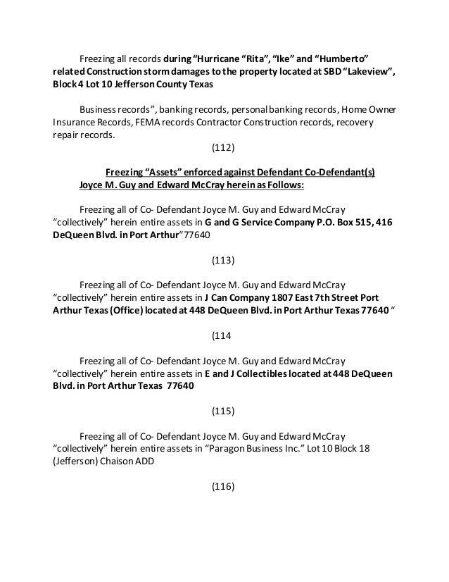 MOTION TO FREEZE DOCUMENTS, ASSETS, OF DEFENDANT ANTOINE L. FREEMAN J…