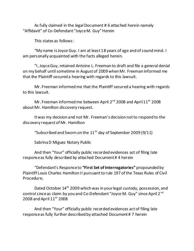 Plaintiff's First Set Of Interrogatories To Defendant