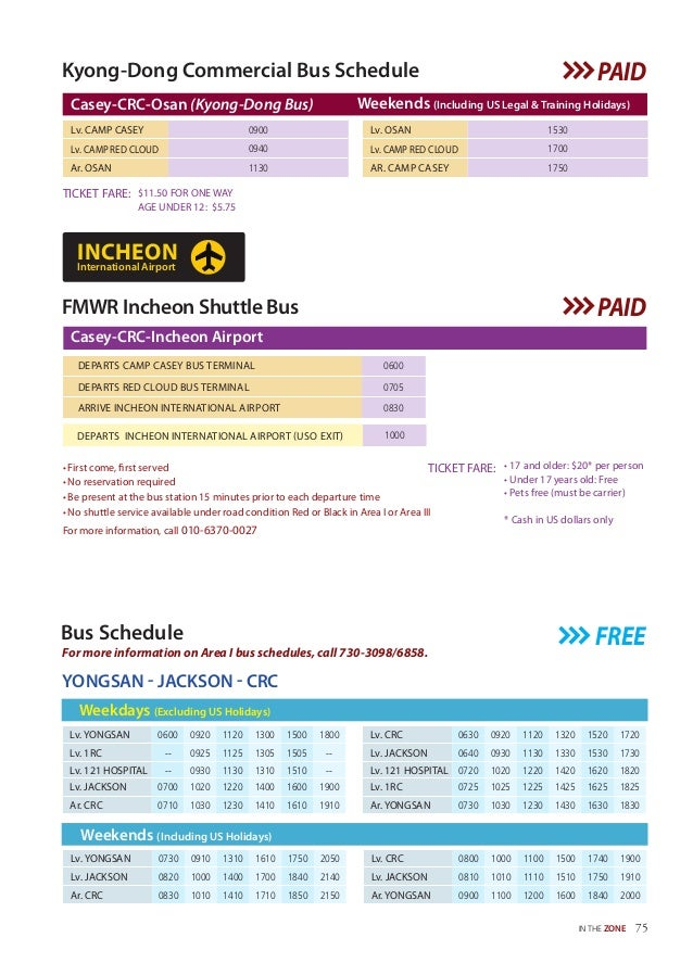 Kyong-Dong Commercial Bus Schedule $11.50 FOR ONE WAY AGE UNDER 12: $5.75 TICKET FARE: Lv. OSAN 1530 Lv. CAMP RED CLOUD 17...