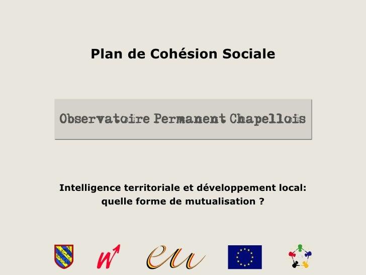 Plan de Cohésion SocialeIntelligence territoriale et développement local:         quelle forme de mutualisation ?