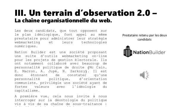 III. Un terrain d'observation 2.0 – La chaîne organisationnelle du web. Mentions légales du candidat E. Macron. Nous remar...