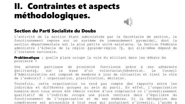 II. Contraintes et aspects méthodologiques. Élus, cadres fédéraux et agences-conseils Contrairement aux cadres de section,...