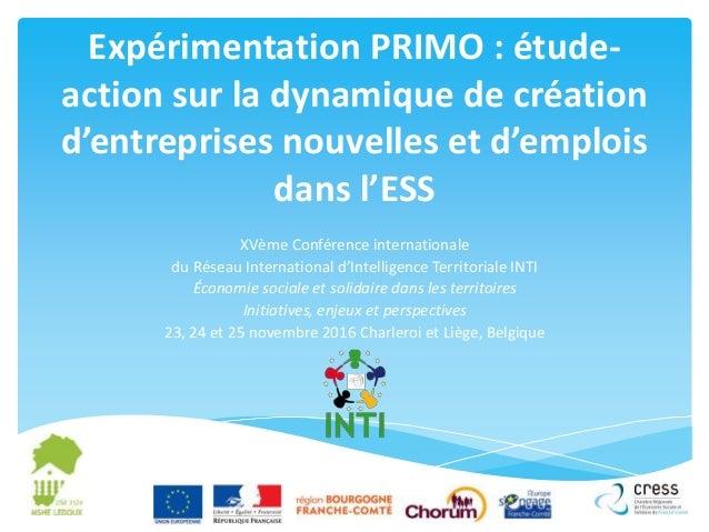 Expérimentation PRIMO : étude- action sur la dynamique de création d'entreprises nouvelles et d'emplois dans l'ESS XVème C...