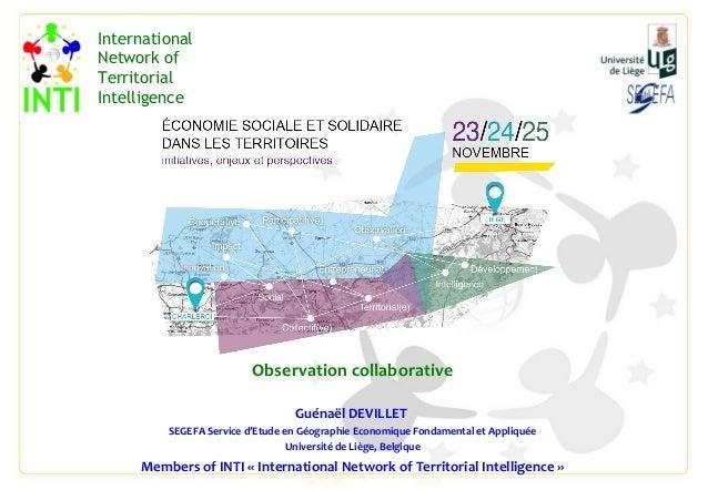 Observation collaborative Guénaël DEVILLET SEGEFA Service d'Etude en Géographie Economique Fondamental et Appliquée Univer...