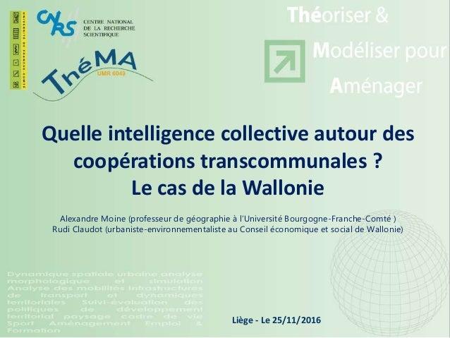 Quelle intelligence collective autour des coopérations transcommunales ? Le cas de la Wallonie Alexandre Moine (professeur...