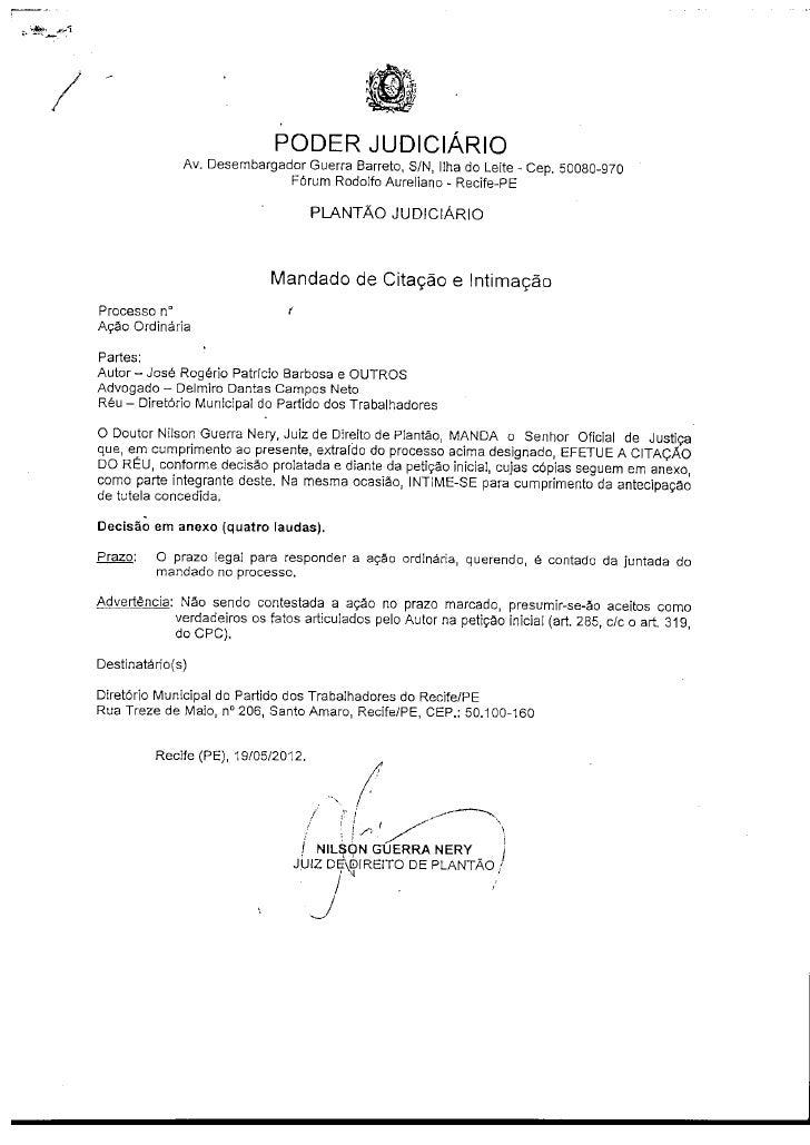 PODER JUDICIÁRIO              Av. Desembargador Guerra Barreto, S/N, Ilha do Leite - Cep. 50080-970                       ...