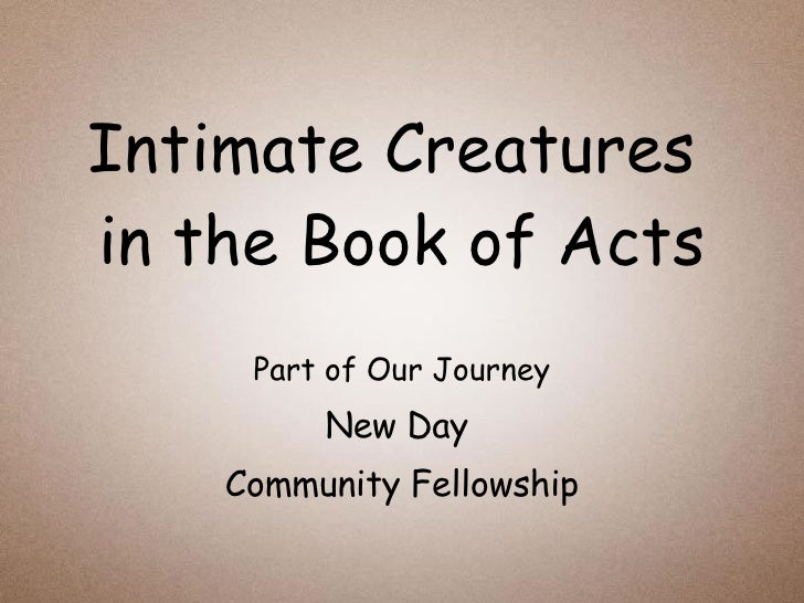 Intimate Creatures  in the Book of Acts Part of Our Journey New Day  Community Fellowship
