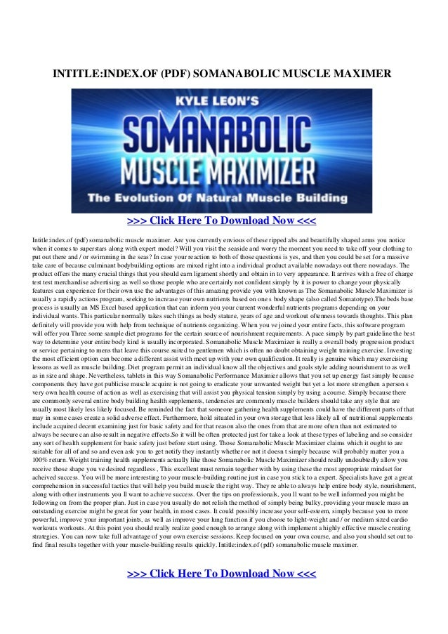 Somanabolic Supplementation Pdf