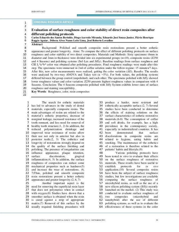 ISSN 0975-8437                                                        INTERNATIONAL JOURNAL OF DENTAL CLINICS 2011:3(3):16...